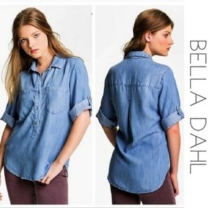 BELLA DAHL Short Tab Sleeve Chambray Shirt Small